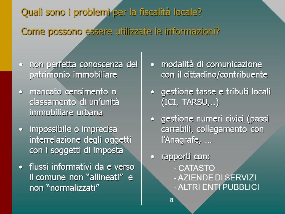 8 Quali sono i problemi per la fiscalità locale. Come possono essere utilizzate le informazioni.