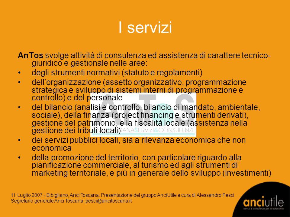 I servizi AnTos svolge attività di consulenza ed assistenza di carattere tecnico- giuridico e gestionale nelle aree: degli strumenti normativi (statut