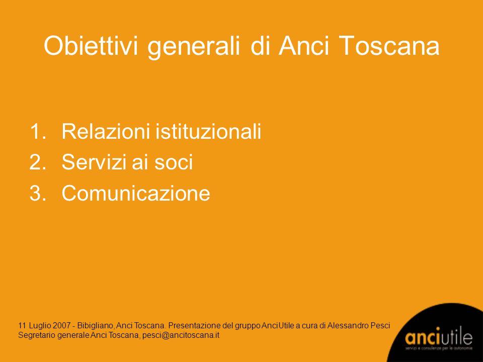 Obiettivi generali di Anci Toscana 1.Relazioni istituzionali 2.Servizi ai soci 3.Comunicazione 11 Luglio 2007 - Bibigliano, Anci Toscana.