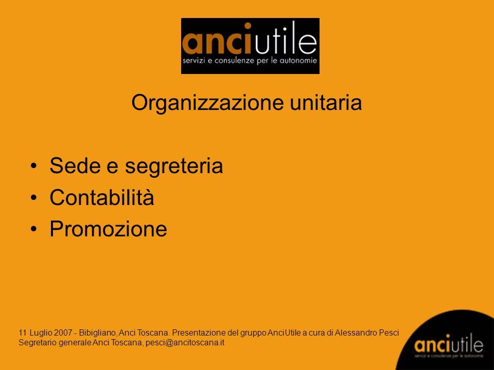 Organizzazione unitaria Sede e segreteria Contabilità Promozione 11 Luglio 2007 - Bibigliano, Anci Toscana. Presentazione del gruppo AnciUtile a cura
