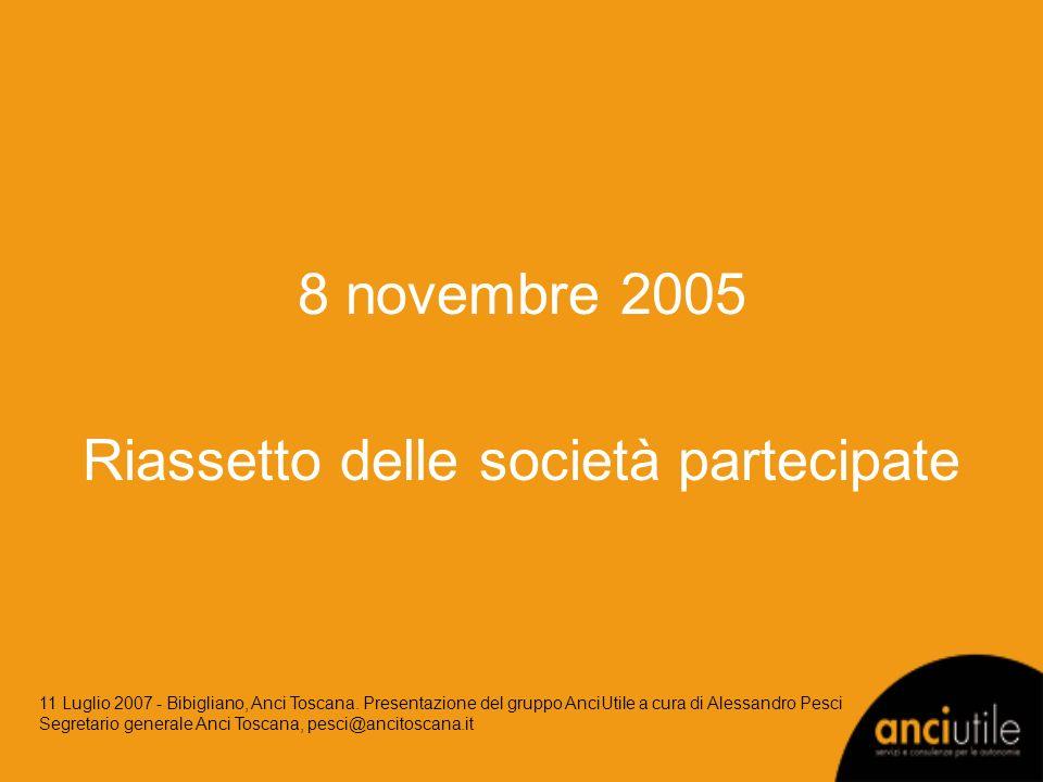 8 novembre 2005 Riassetto delle società partecipate 11 Luglio 2007 - Bibigliano, Anci Toscana. Presentazione del gruppo AnciUtile a cura di Alessandro