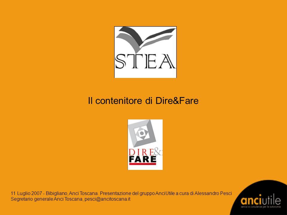 Il contenitore di Dire&Fare 11 Luglio 2007 - Bibigliano, Anci Toscana. Presentazione del gruppo AnciUtile a cura di Alessandro Pesci Segretario genera