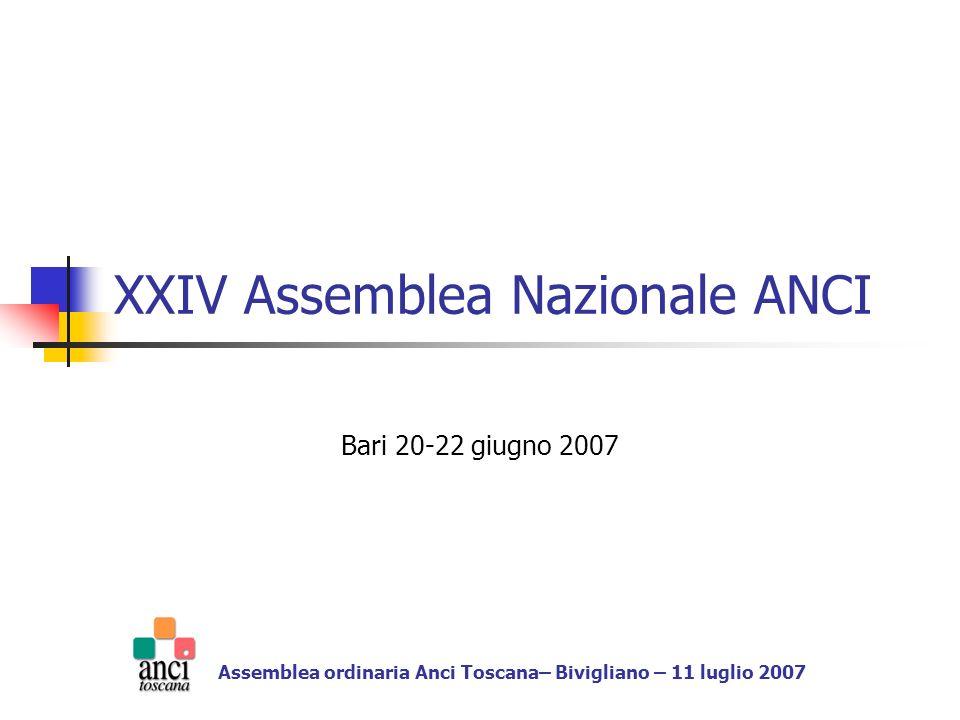 XXIV Assemblea Nazionale ANCI Bari 20-22 giugno 2007 Assemblea ordinaria Anci Toscana– Bivigliano – 11 luglio 2007