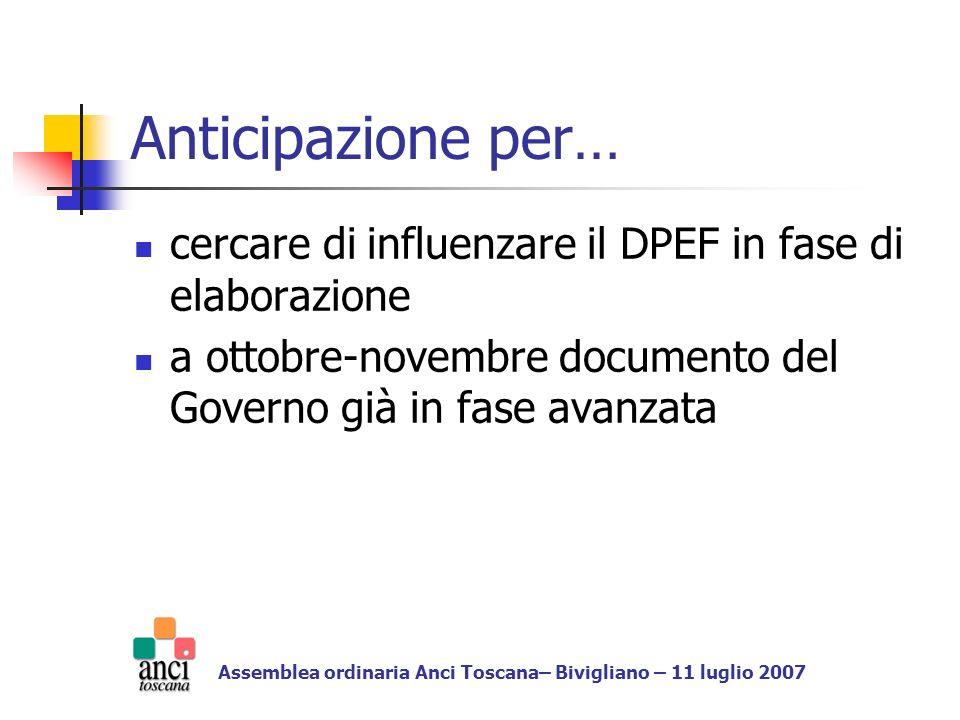 Anticipazione per… cercare di influenzare il DPEF in fase di elaborazione a ottobre-novembre documento del Governo già in fase avanzata Assemblea ordinaria Anci Toscana– Bivigliano – 11 luglio 2007
