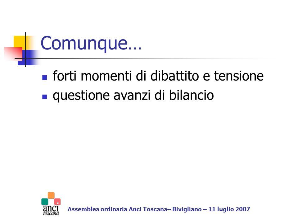 Comunque… forti momenti di dibattito e tensione questione avanzi di bilancio Assemblea ordinaria Anci Toscana– Bivigliano – 11 luglio 2007