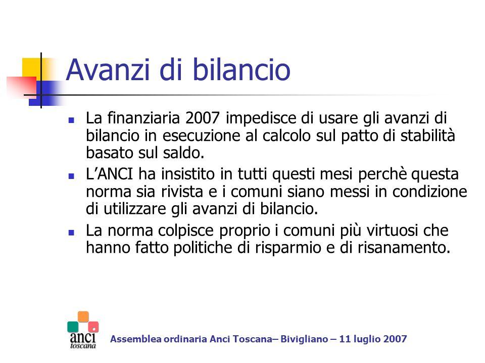 I sacrificio dei comuni Con la finanziaria contributo dei comuni al risanamento generale circa 2 miliardi Avanzi di bilancio stimati in circa 4 miliardi Assemblea ordinaria Anci Toscana– Bivigliano – 11 luglio 2007