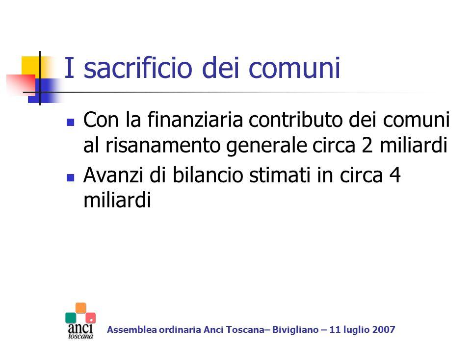Proposte ANCI (Odg approvato a Bari il 22/6/07) non considerare nel saldo finanziario le spese dovute per il riconoscimento dei debiti fuori bilancio derivanti da sentenza coprire la spesa per i debiti fuori bilancio derivanti da sentenza con lavanzo di amministrazione sommando la quota applicata nel calcolo delle entrate correnti per la determinazione del saldo finanziario Assemblea ordinaria Anci Toscana– Bivigliano – 11 luglio 2007