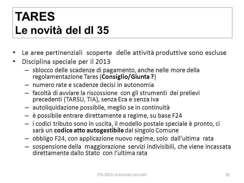 TARES Le novità del dl 35 Le aree pertinenziali scoperte delle attività produttive sono escluse Disciplina speciale per il 2013 – sblocco delle scaden