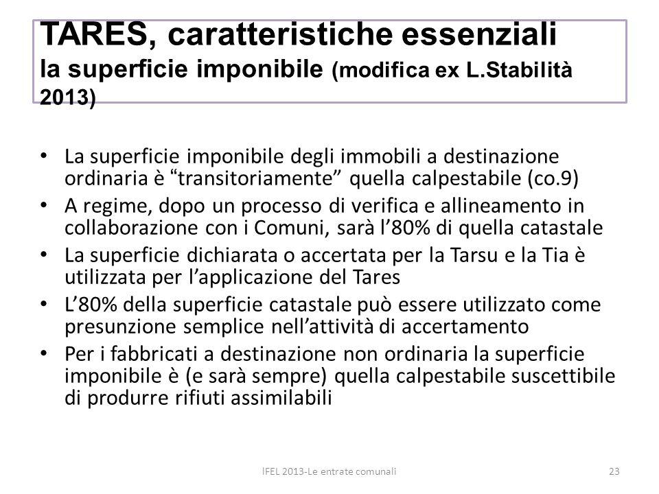 TARES, caratteristiche essenziali la superficie imponibile (modifica ex L.Stabilità 2013) La superficie imponibile degli immobili a destinazione ordin