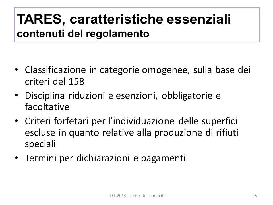 Classificazione in categorie omogenee, sulla base dei criteri del 158 Disciplina riduzioni e esenzioni, obbligatorie e facoltative Criteri forfetari per lindividuazione delle superfici escluse in quanto relative alla produzione di rifiuti speciali Termini per dichiarazioni e pagamenti TARES, caratteristiche essenziali contenuti del regolamento lFEL 2013-Le entrate comunali26