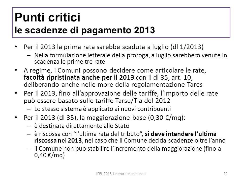 Punti critici le scadenze di pagamento 2013 Per il 2013 la prima rata sarebbe scaduta a luglio (dl 1/2013) – Nella formulazione letterale della prorog