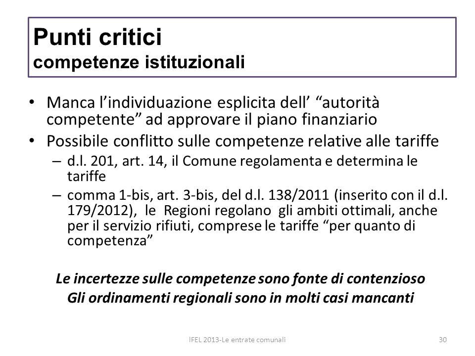 Manca lindividuazione esplicita dell autorità competente ad approvare il piano finanziario Possibile conflitto sulle competenze relative alle tariffe