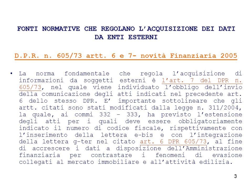 4 FONTI NORMATIVE CHE REGOLANO LACQUISIZIONE DEI DATI DA ENTI ESTERNI Lart.7,sesto comma, D.P.R.