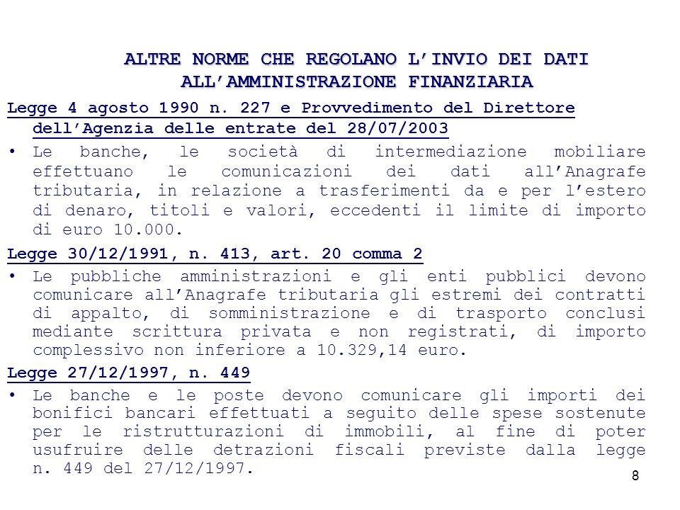 19 FORNITURA DI DICHIARAZIONI AI COMUNI Il sistema S.I.A.T.E.L.