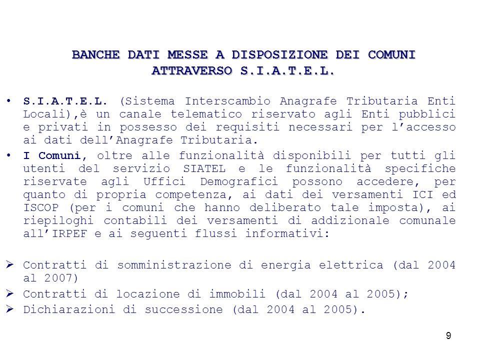 10 Entro il 30/09/2009 saranno disponibili anche le utenze del gas per le annualità 2005/2006/2007 e verrà messa a disposizione lannualità 2006 per i contratti di locazione e le dichiarazioni di successione.