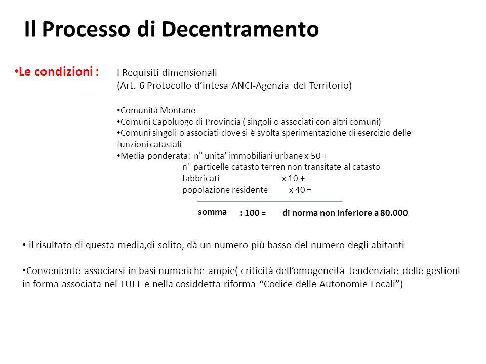 Il Processo di Decentramento Le condizioni : I Requisiti dimensionali (Art.