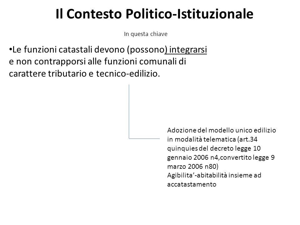 In questa chiave Il Contesto Politico-Istituzionale Le funzioni catastali devono (possono) integrarsi e non contrapporsi alle funzioni comunali di carattere tributario e tecnico-edilizio.