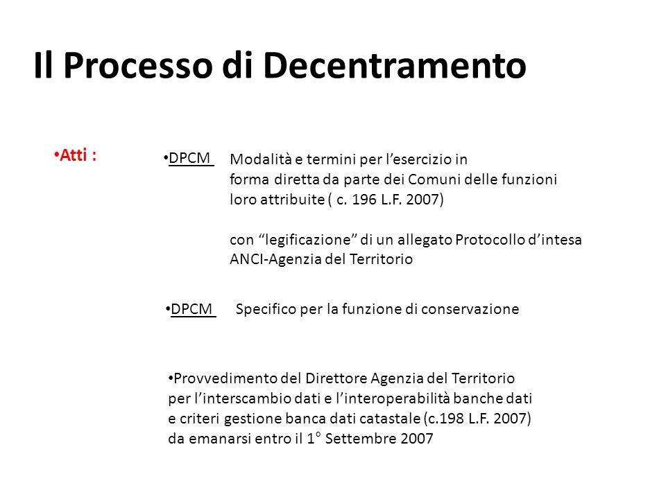 Il Processo di Decentramento Atti : DPCM Modalità e termini per lesercizio in forma diretta da parte dei Comuni delle funzioni loro attribuite ( c.