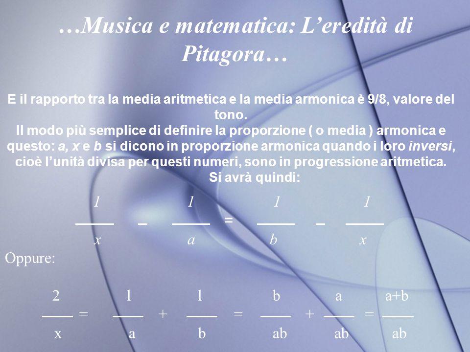 E il rapporto tra la media aritmetica e la media armonica è 9/8, valore del tono.