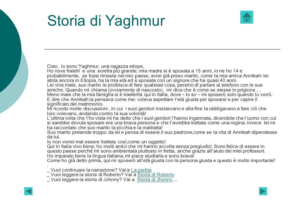 Storia di Yaghmur Ciao, io sono Yaghmur, una ragazza etiope. Ho nove fratelli e una sorella più grande; mia madre si è sposata a 15 anni, io ne ho 14