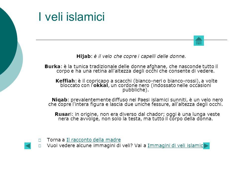 I veli islamici Hijab: è il velo che copre i capelli delle donne.