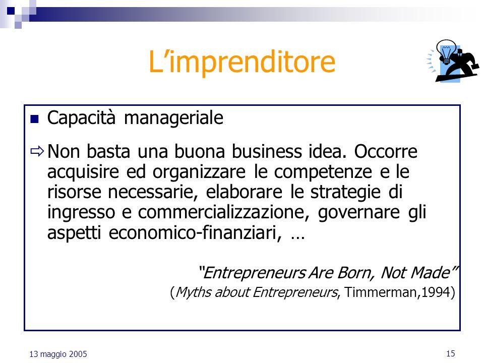 15 13 maggio 2005 Limprenditore Capacità manageriale Non basta una buona business idea. Occorre acquisire ed organizzare le competenze e le risorse ne