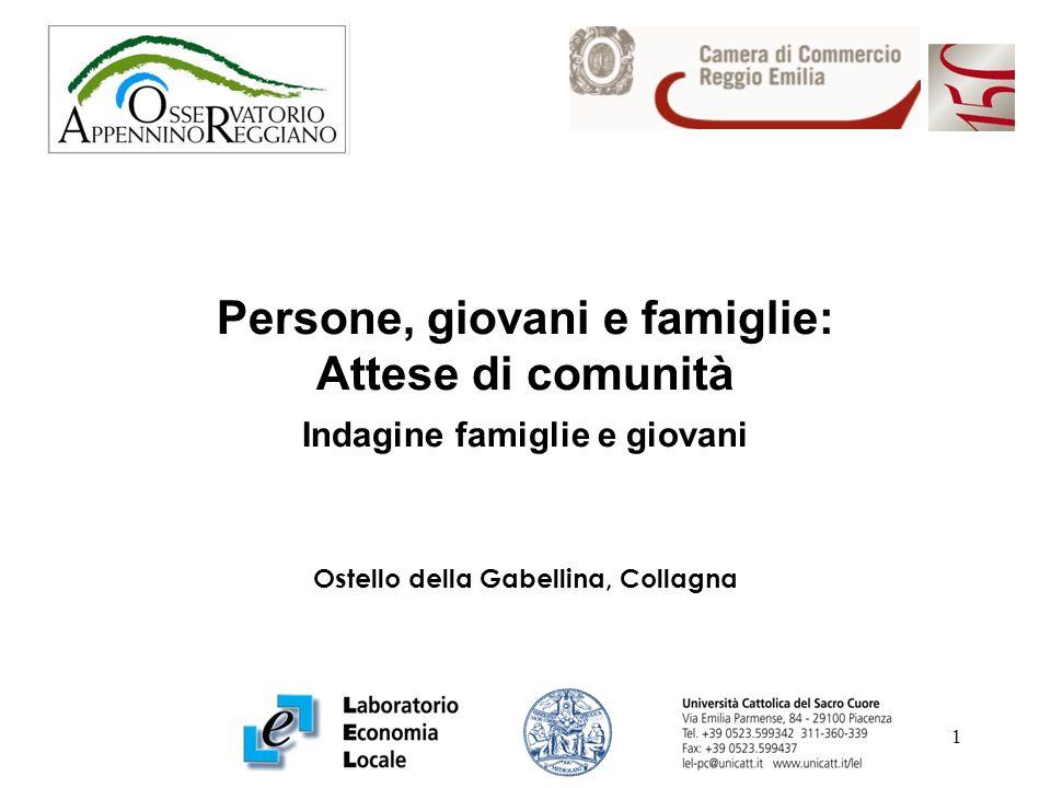 1 Persone, giovani e famiglie: Attese di comunità Indagine famiglie e giovani Ostello della Gabellina, Collagna