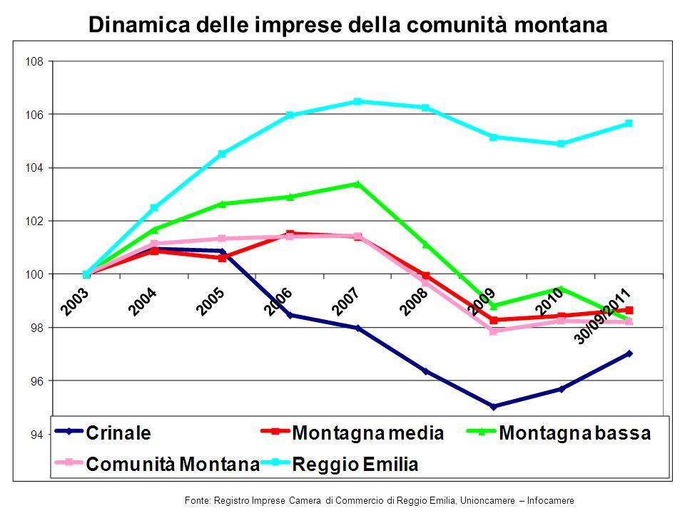 Dinamica delle imprese della comunità montana Fonte: Registro Imprese Camera di Commercio di Reggio Emilia, Unioncamere – Infocamere