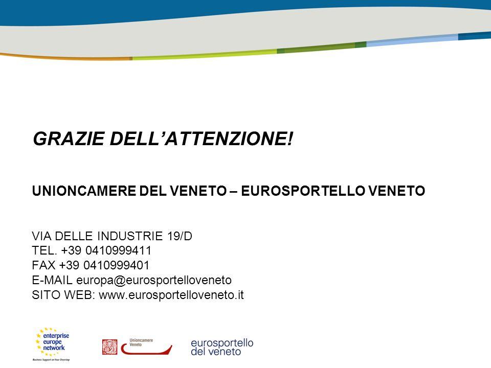 GRAZIE DELLATTENZIONE! UNIONCAMERE DEL VENETO – EUROSPORTELLO VENETO VIA DELLE INDUSTRIE 19/D TEL. +39 0410999411 FAX +39 0410999401 E-MAIL europa@eur