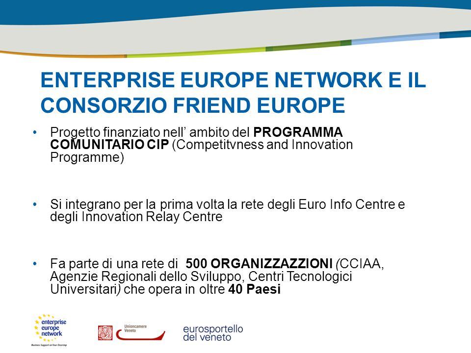 ENTERPRISE EUROPE NETWORK E IL CONSORZIO FRIEND EUROPE Progetto finanziato nell ambito del PROGRAMMA COMUNITARIO CIP (Competitvness and Innovation Pro