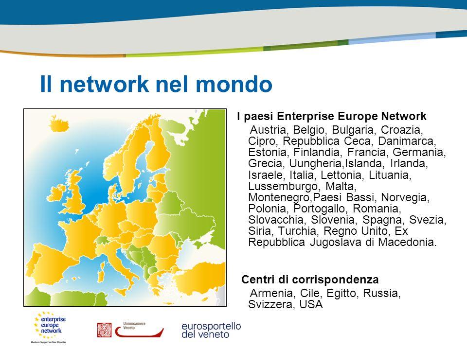 Il network nel mondo I paesi Enterprise Europe Network Austria, Belgio, Bulgaria, Croazia, Cipro, Repubblica Ceca, Danimarca, Estonia, Finlandia, Fran