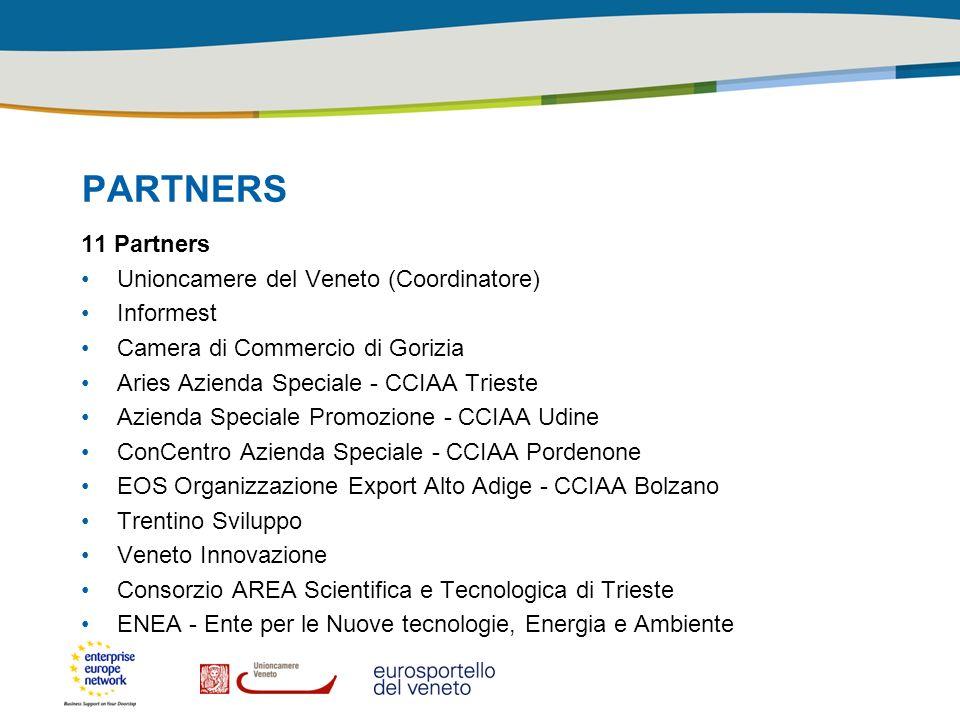 PARTNERS 11 Partners Unioncamere del Veneto (Coordinatore) Informest Camera di Commercio di Gorizia Aries Azienda Speciale - CCIAA Trieste Azienda Spe