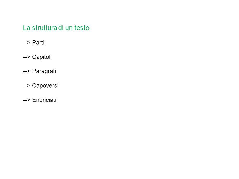 La struttura di un testo --> Parti --> Capitoli --> Paragrafi --> Capoversi --> Enunciati