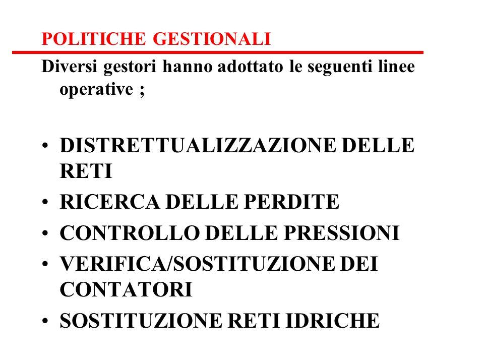 POLITICHE GESTIONALI Diversi gestori hanno adottato le seguenti linee operative ; DISTRETTUALIZZAZIONE DELLE RETI RICERCA DELLE PERDITE CONTROLLO DELLE PRESSIONI VERIFICA/SOSTITUZIONE DEI CONTATORI SOSTITUZIONE RETI IDRICHE