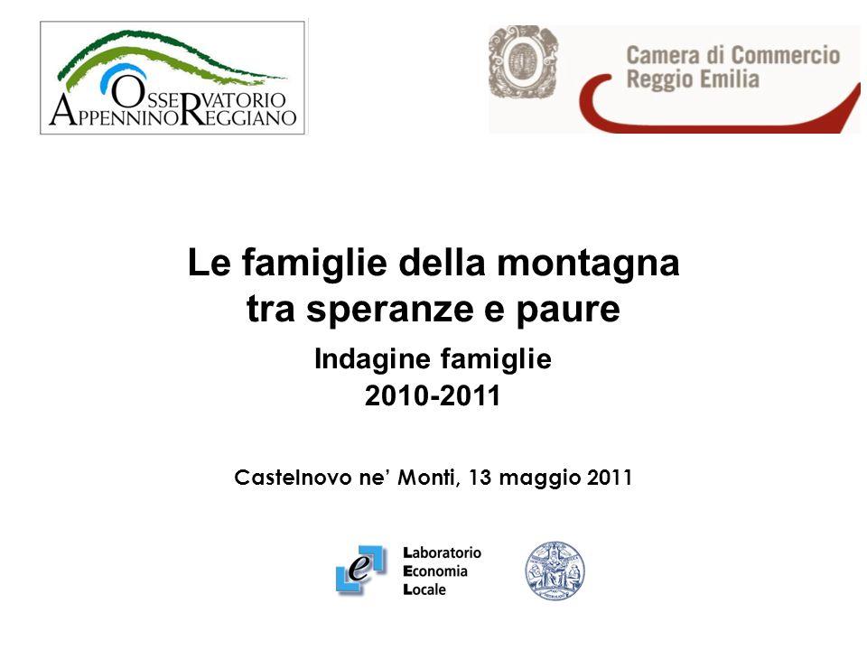 Le famiglie della montagna tra speranze e paure Indagine famiglie 2010-2011 Castelnovo ne Monti, 13 maggio 2011