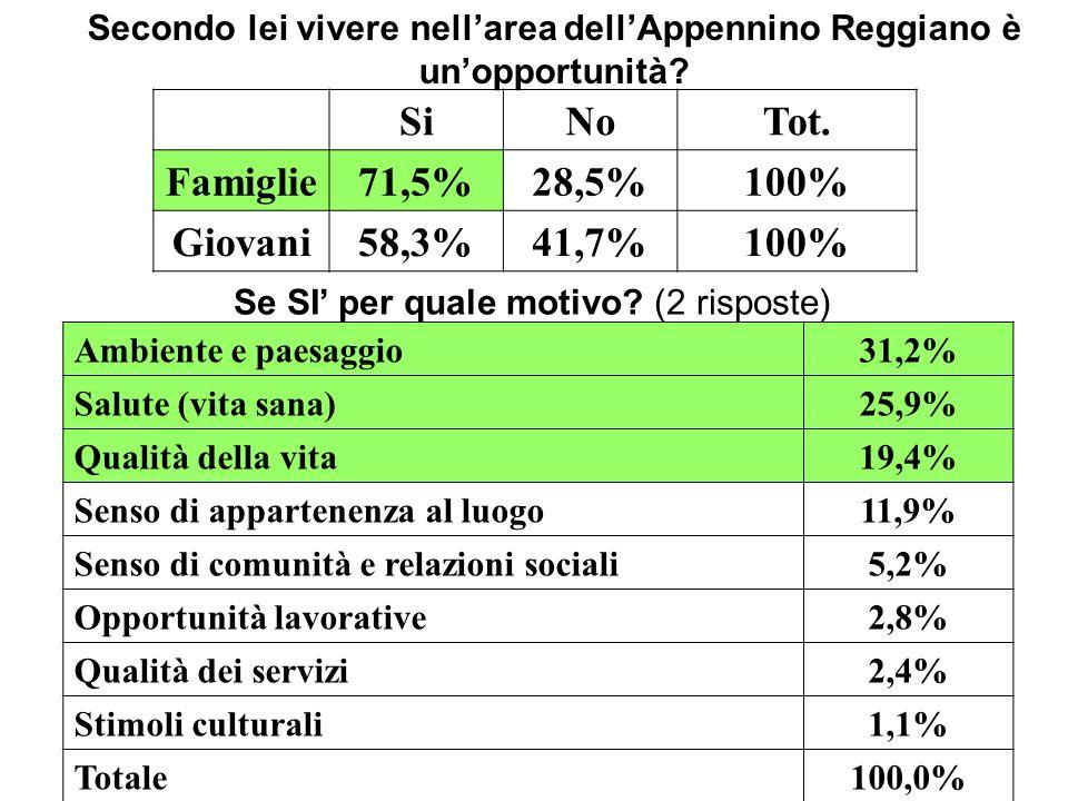 Secondo lei vivere nellarea dellAppennino Reggiano è unopportunità? SiNoTot. Famiglie71,5%28,5%100% Giovani58,3%41,7%100% Se SI per quale motivo? (2 r