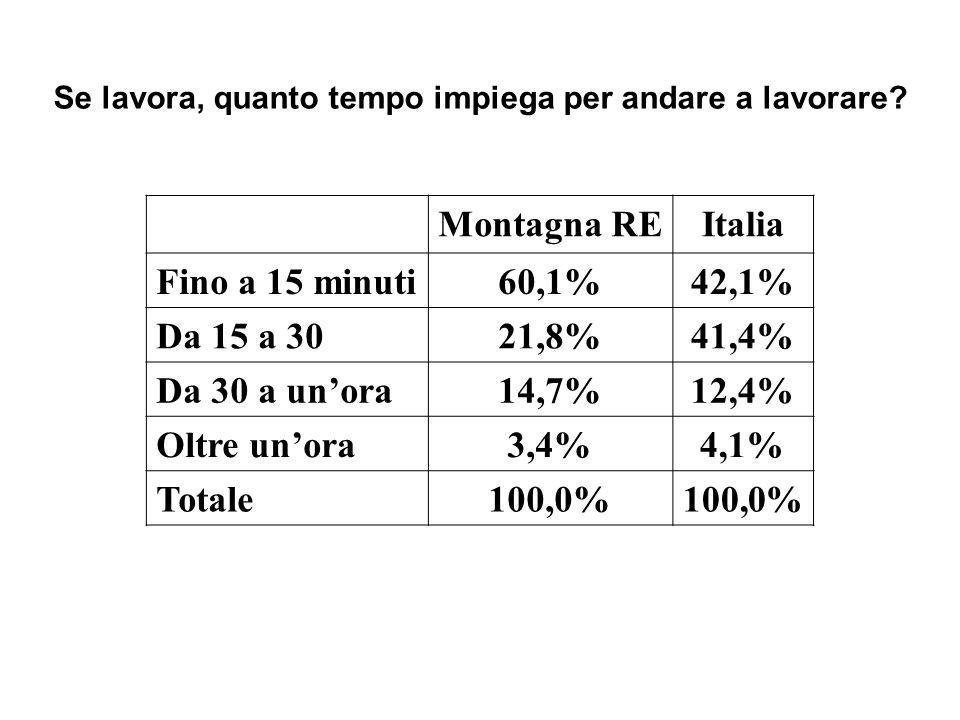 Montagna REItalia Fino a 15 minuti60,1%42,1% Da 15 a 3021,8%41,4% Da 30 a unora14,7%12,4% Oltre unora3,4%4,1% Totale100,0% Se lavora, quanto tempo imp