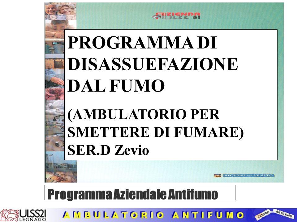 PROGRAMMA DI DISASSUEFAZIONE DAL FUMO (AMBULATORIO PER SMETTERE DI FUMARE) SER.D Zevio Programma Aziendale Antifumo