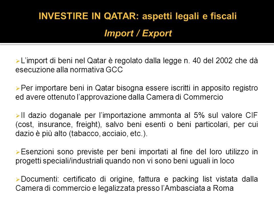 Limport di beni nel Qatar è regolato dalla legge n.