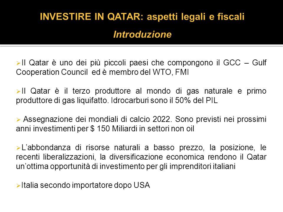 Il Qatar è uno dei più piccoli paesi che compongono il GCC – Gulf Cooperation Council ed è membro del WTO, FMI Il Qatar è il terzo produttore al mondo di gas naturale e primo produttore di gas liquifatto.