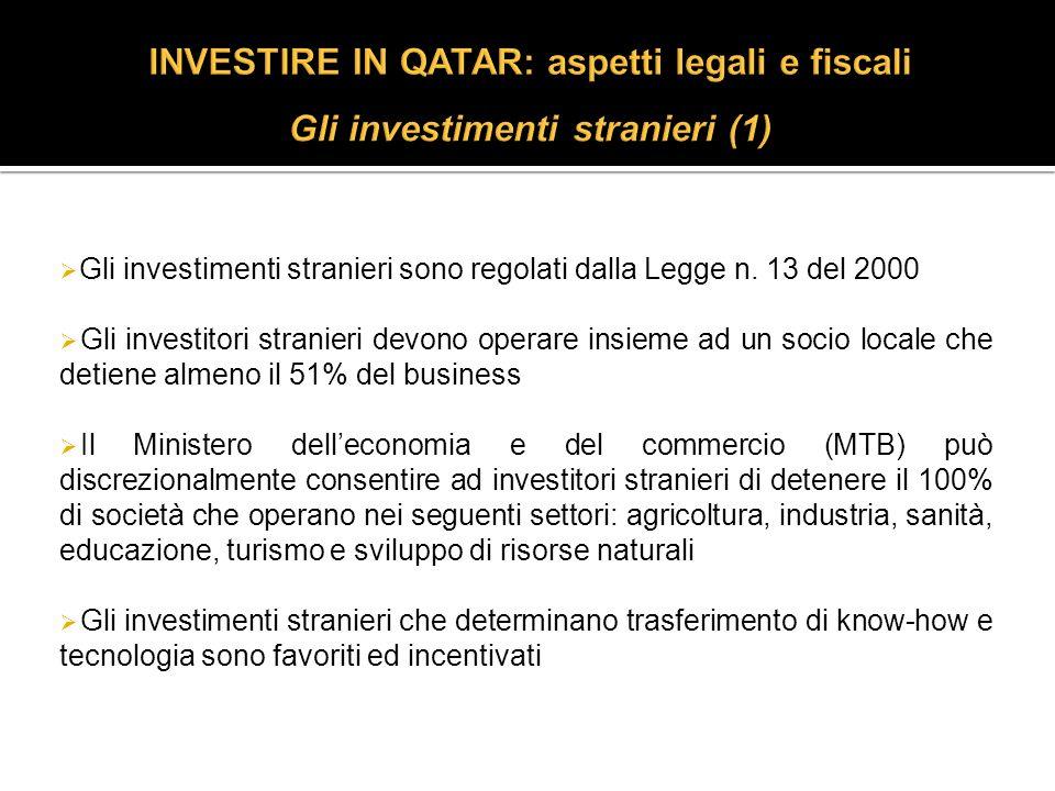 Gli investimenti stranieri sono regolati dalla Legge n.