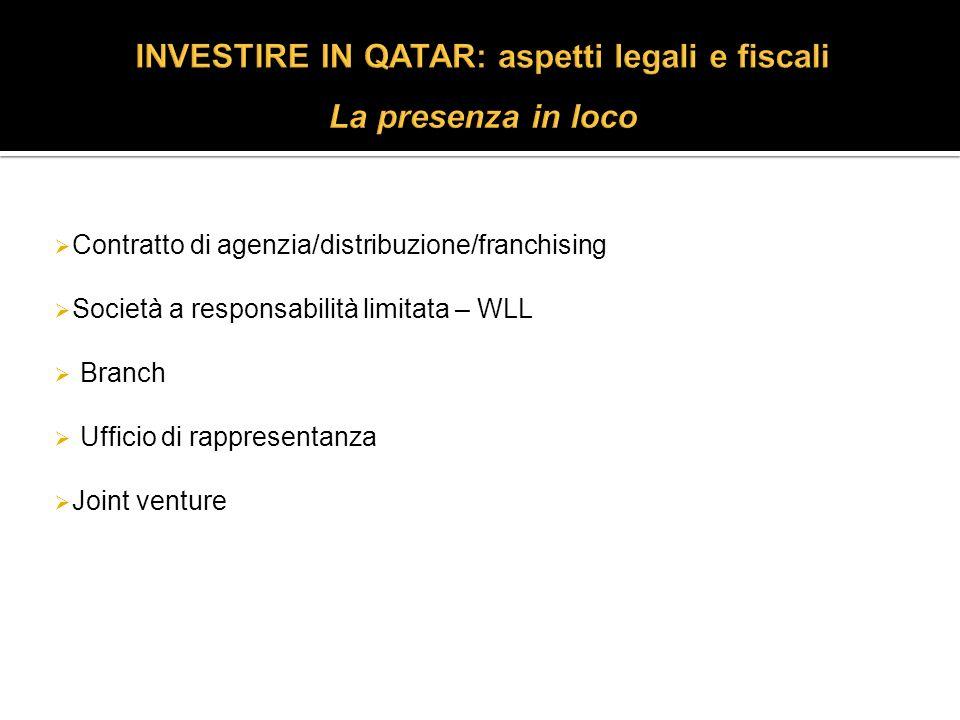 Contratto di agenzia/distribuzione/franchising Società a responsabilità limitata – WLL Branch Ufficio di rappresentanza Joint venture