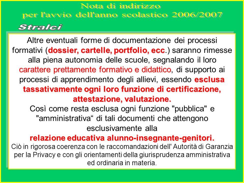 dossier, cartelle, portfolio, ecc carattere prettamente formativo e didattico esclusa tassativamente ogni loro funzione di certificazione, attestazione, valutazione.