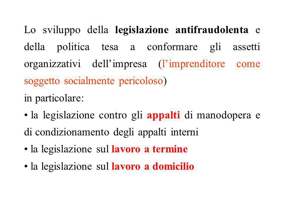 Lo sviluppo della legislazione antifraudolenta e della politica tesa a conformare gli assetti organizzativi dellimpresa (limprenditore come soggetto s