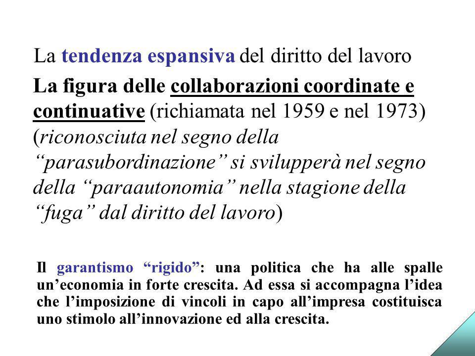 La tendenza espansiva del diritto del lavoro La figura delle collaborazioni coordinate e continuative (richiamata nel 1959 e nel 1973) (riconosciuta n