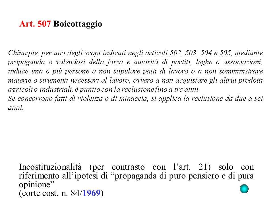 Art. 507 Boicottaggio Incostituzionalità (per contrasto con lart. 21) solo con riferimento allipotesi di propaganda di puro pensiero e di pura opinion