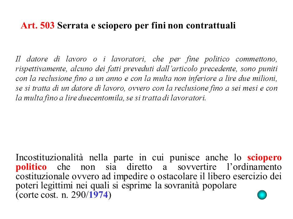 Art. 503 Serrata e sciopero per fini non contrattuali Incostituzionalità nella parte in cui punisce anche lo sciopero politico che non sia diretto a s