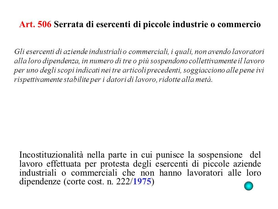 Art. 506 Serrata di esercenti di piccole industrie o commercio Incostituzionalità nella parte in cui punisce la sospensione del lavoro effettuata per