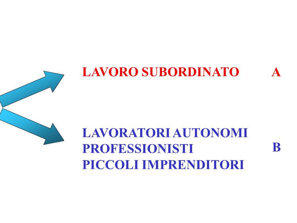 LAVORO SUBORDINATO LAVORATORI AUTONOMI PROFESSIONISTI PICCOLI IMPRENDITORI A B