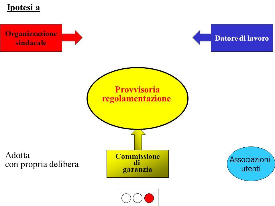 Organizzazione sindacale Datore di lavoro Commissione di garanzia Adotta con propria delibera Provvisoria regolamentazione Ipotesi a Associazioni uten